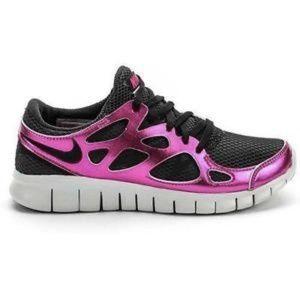 Nike Free Run 2 Black and Metallic Pink Sneakers